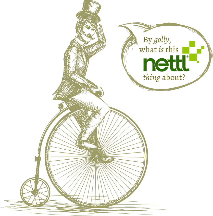 by golly, what is this nettl thing about? man on a penny farthing
