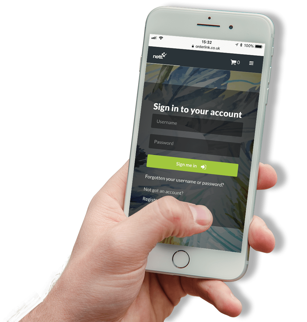 hand holding an iphone with nettl sign in page