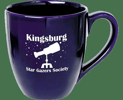 royal blue coffee mug with logo