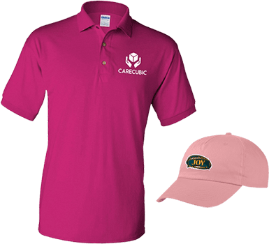 promotional hot pink polo shirt and pink cap