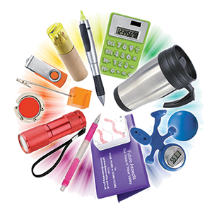 circle of various promotional products