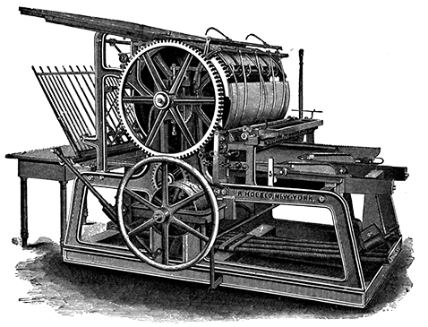 old fashioned R Hoe printing press