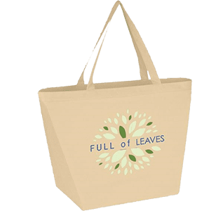 tan tote bag with logo