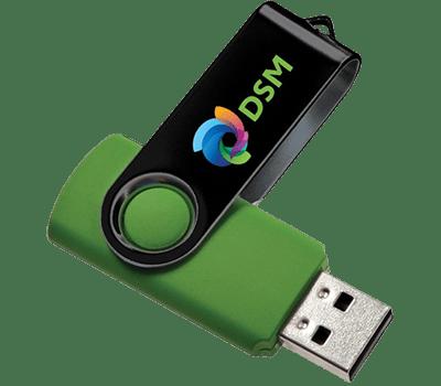 green usb with logo branding