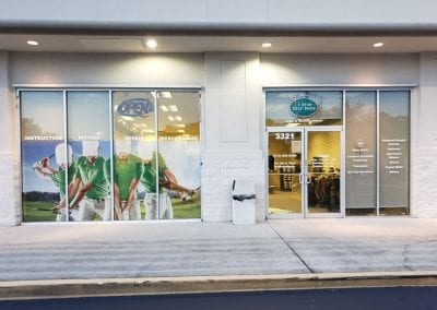 Window perf and cut vinyl for 1 Stop Golf Shop store front