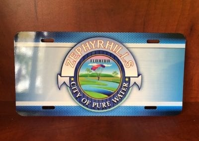 License plate with City of Zephyrhills logo
