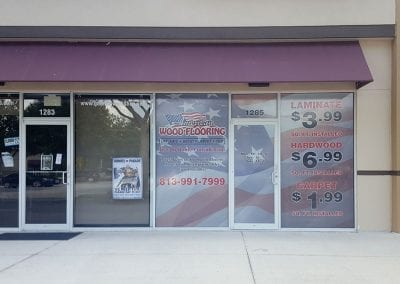 Window perf for American Wood Flooring store front`