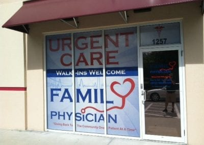 Window perf for Family Physician Urgent Care store front