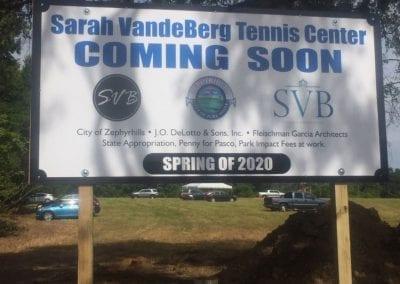 Maxmetal construction sign for Sarah Vande Berg Tennis Center