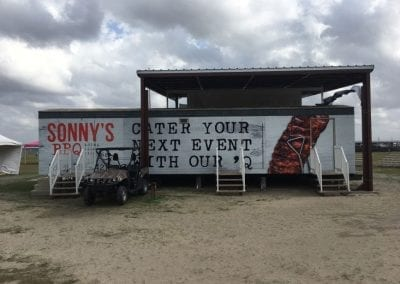 Vinyl wrap applied to side of mobile home advertising Sonny's BBQ