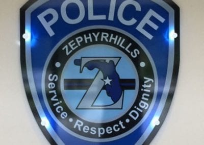Shield shaped acrylic sign with LED stand-offs for Zephyrhills Police