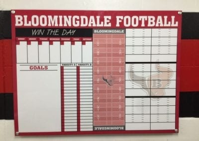 Acrylic sign for Bloomingdale Football