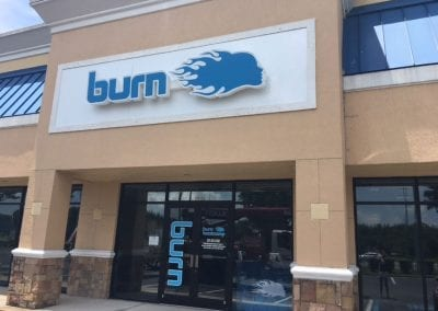 Channel letter sign with logo for Burn Bootcamp